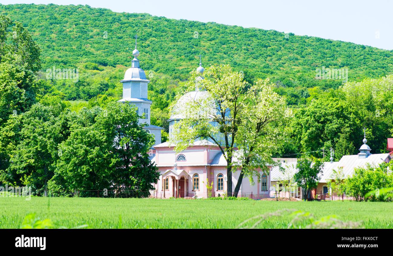 Church monastery park in spring - Stock Image