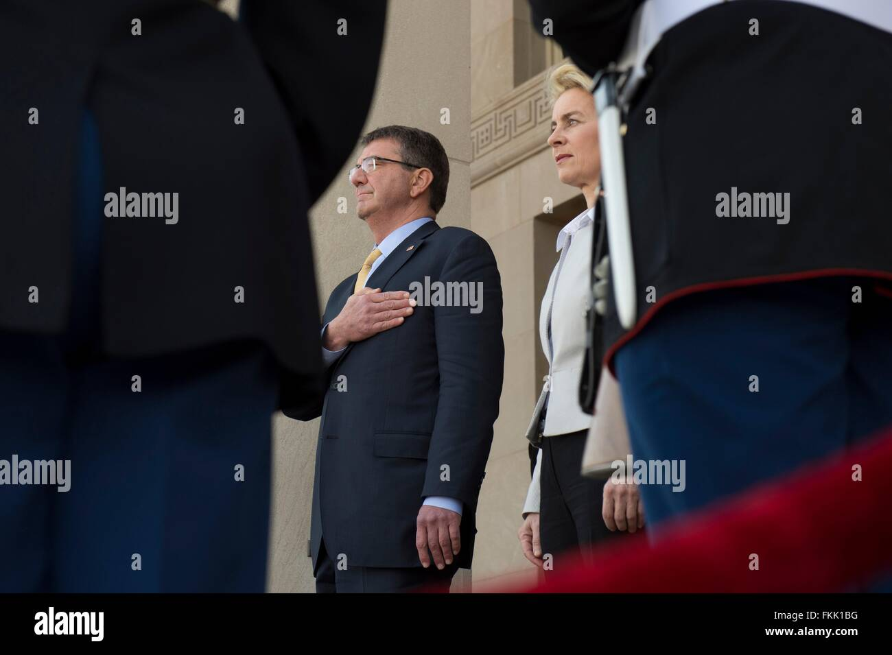 U.S Secretary of Defense Ash Carter and German Minister of Defence Ursula von der Leyen during arrival ceremonies - Stock Image