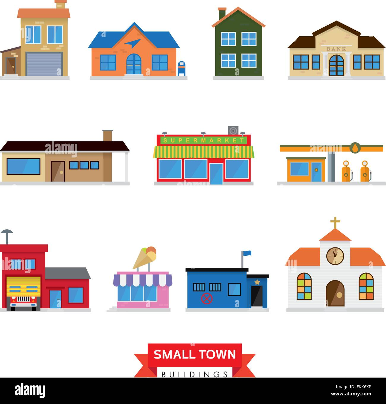 Flat design buildings typical of small towns Stock Vector