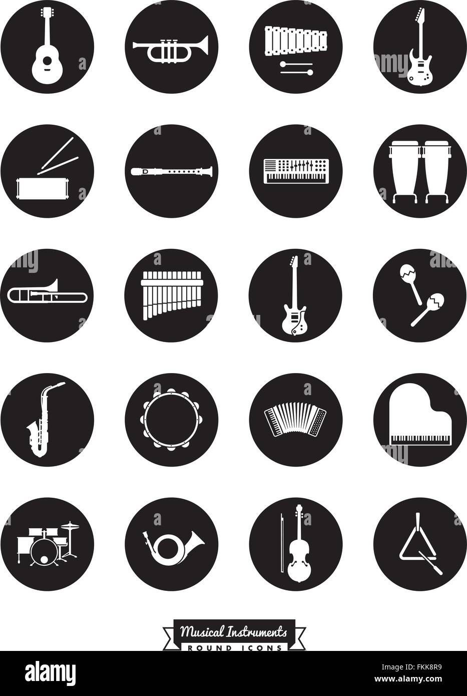 Collection Of 20 Musical Instruments Symbols Negative In Black