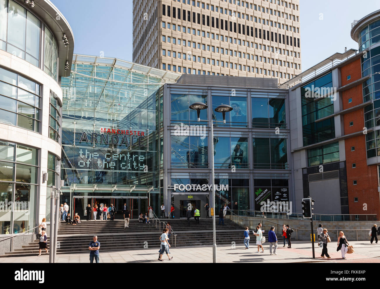 Entrance to the Arndale shopping centre in the city centre. Corporation Street, Manchester, England, UK, Britain. - Stock Image