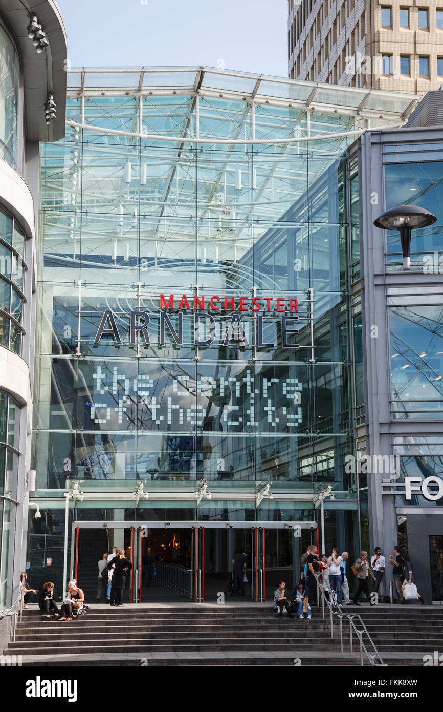 Entrance to the glass fronted Arndale shopping centre in the city centre. Corporation Street, Manchester, England, - Stock Image