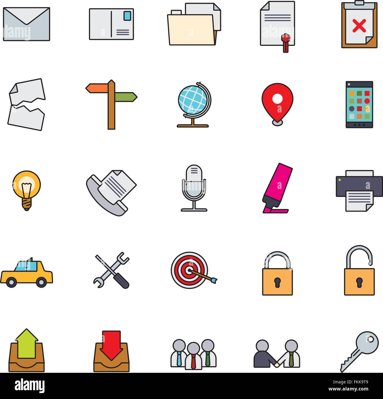 Collection of 25 business and office related filled line icons, part 2 - Stock Image