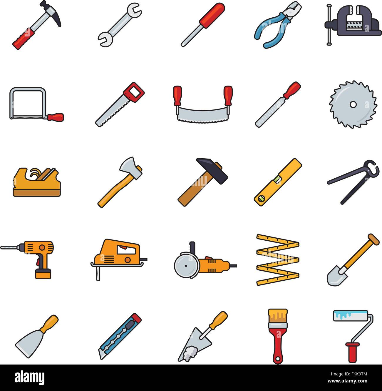 Collection of filled line tools and crafting icons isolated on white background - Stock Vector