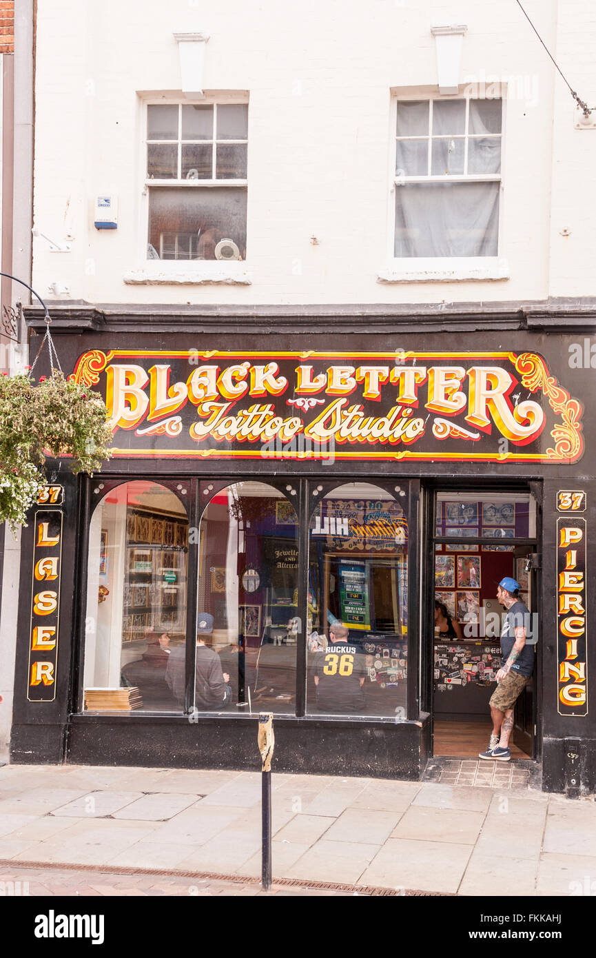 The Black Letter Tattoo Studio at Gloucester , Gloucestershire , England , Britain , Uk - Stock Image