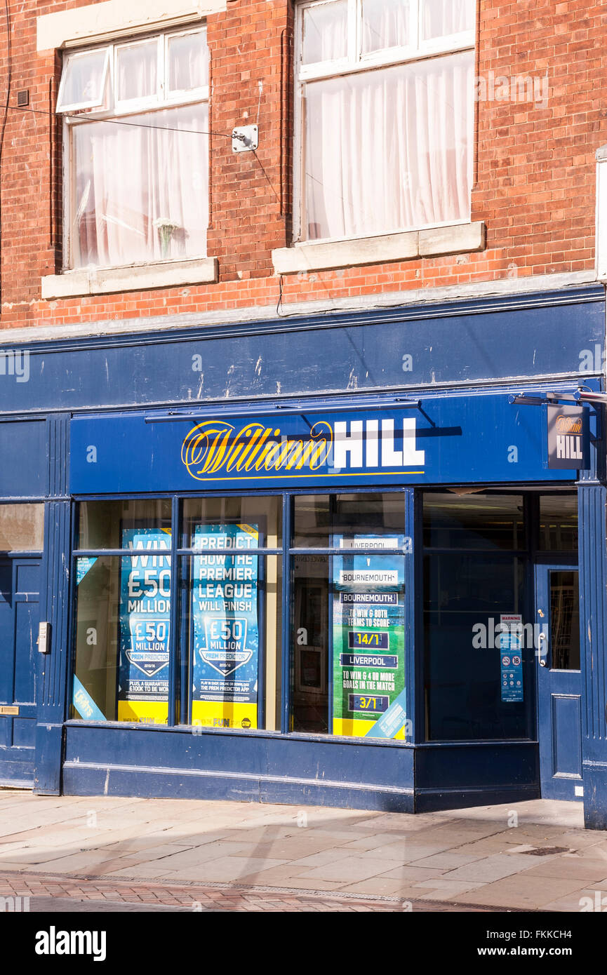 The William Hill Bookmakers in Gloucester , Gloucestershire , England , Britain , Uk - Stock Image