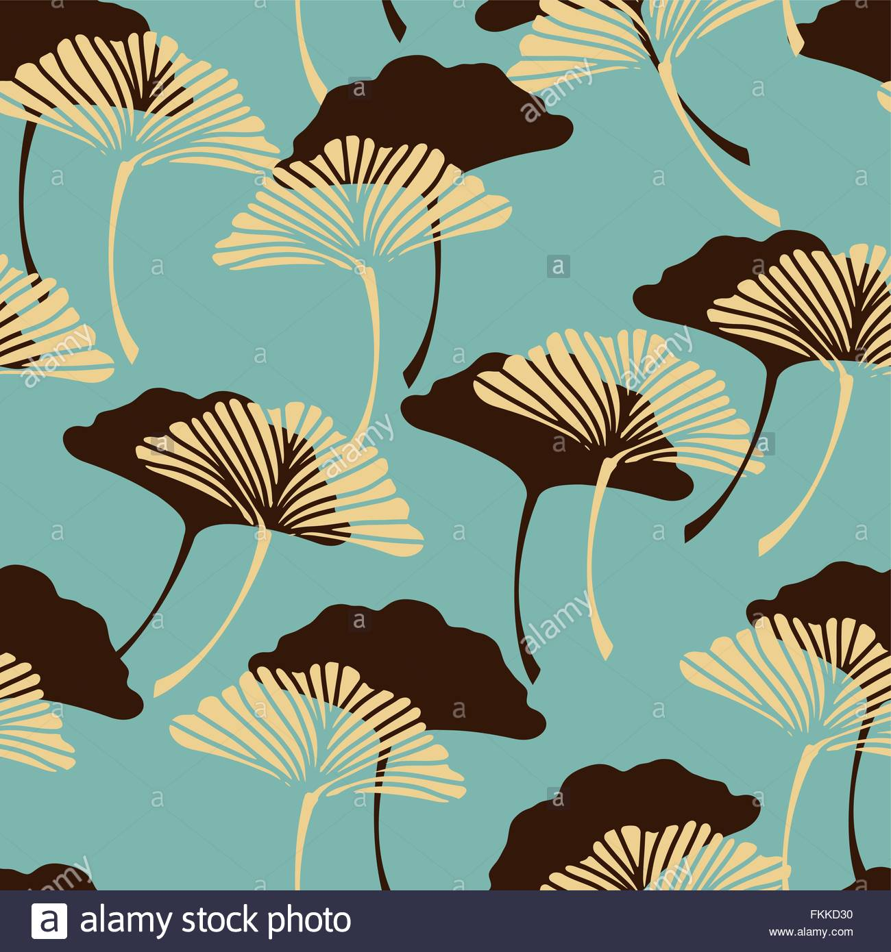 A Japanese Style Ginkgo Biloba Leaves Seamless Tile In A Blue And