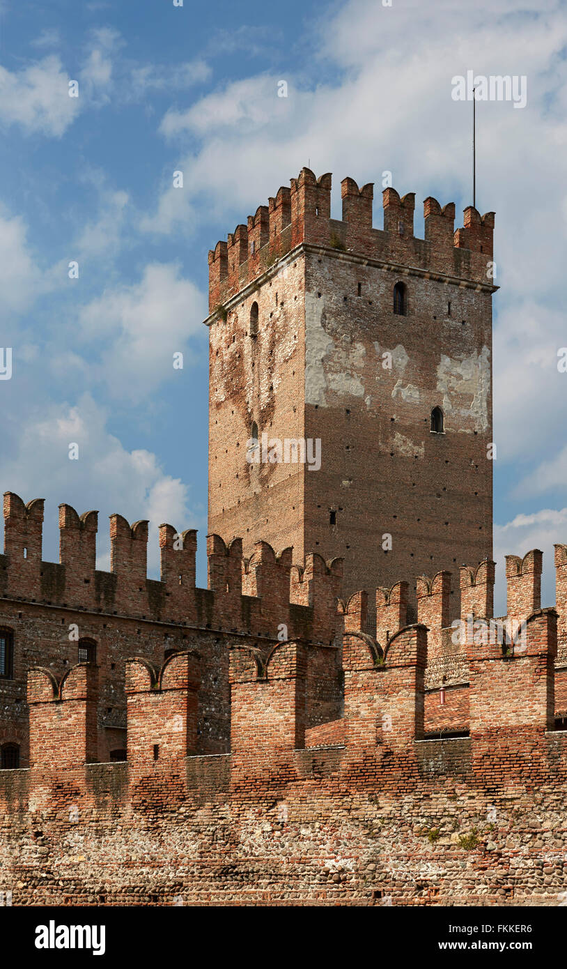 An exterior view of a historic building and museum in Verona in Italy, called Museo Civico di Castelvecchio. - Stock Image