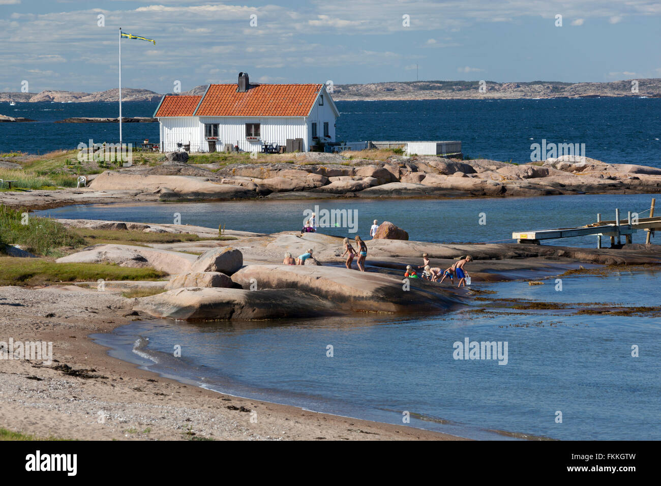 Ramsvik beach, Hunnebostrstrand, Bohuslän Coast, Southwest Sweden, Sweden, Scandinavia, Europe - Stock Image