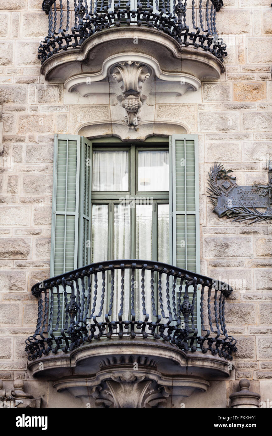 A view from below of the balconies on the Casa Calvet building in the city of Barcelona. - Stock Image