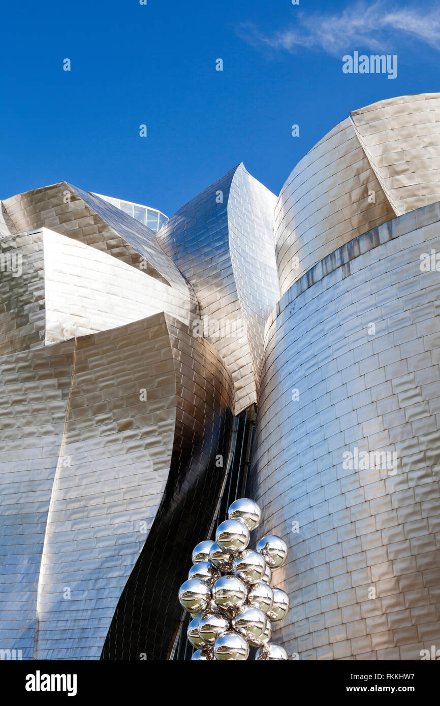 A view from below of the sculptural installation at the Guggenheim Museum in Bilbao. - Stock Image