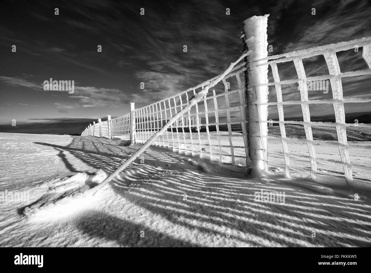 A frozen wire fence below the summit of Geal-charn Mor, Cairngorms in the Scottish Highlands, UK. Added grain and - Stock Image