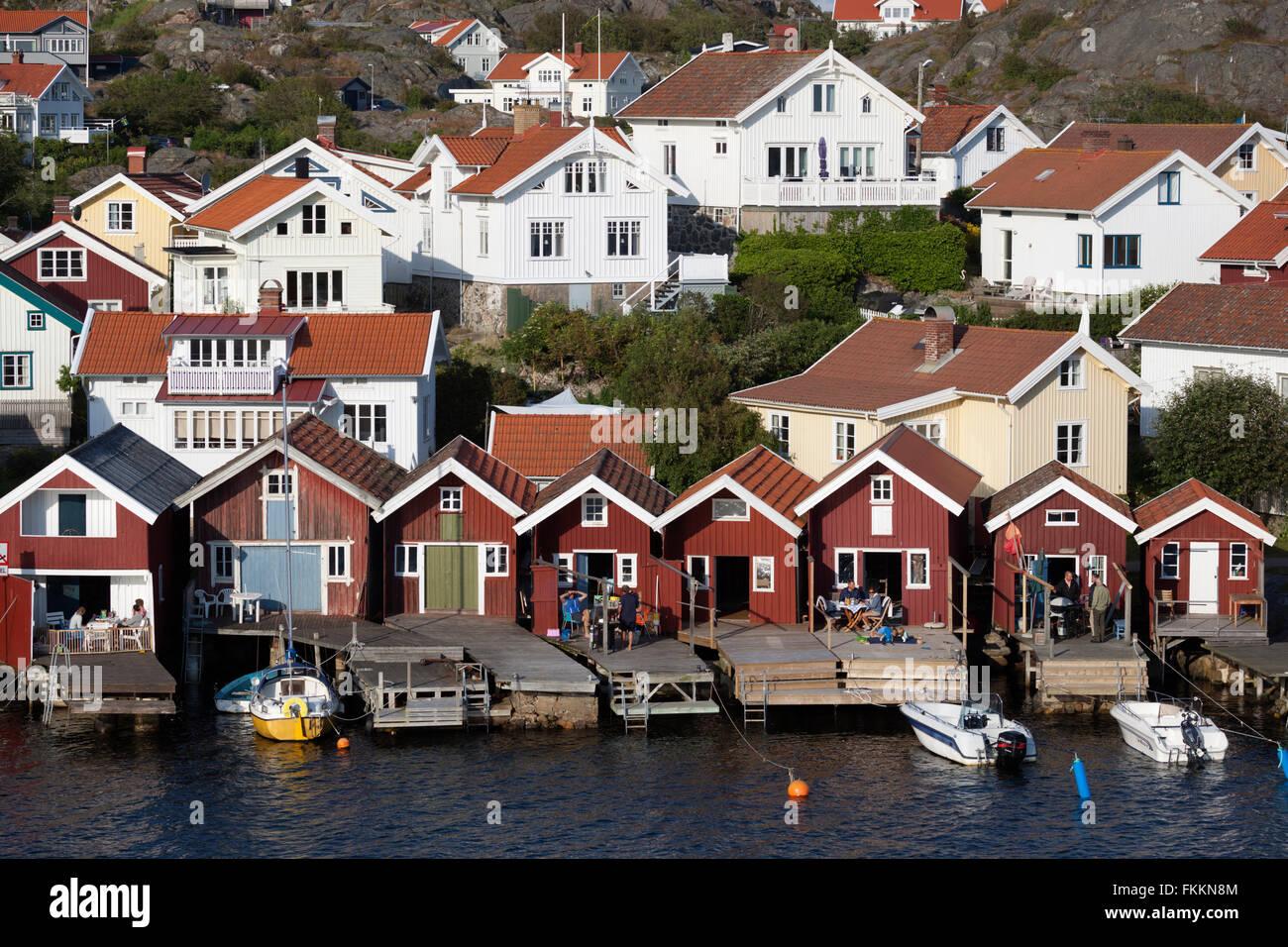 Traditional falu red fishermen's houses, Hälleviksstrand, Orust, Bohuslän Coast, Southwest Sweden, - Stock Image