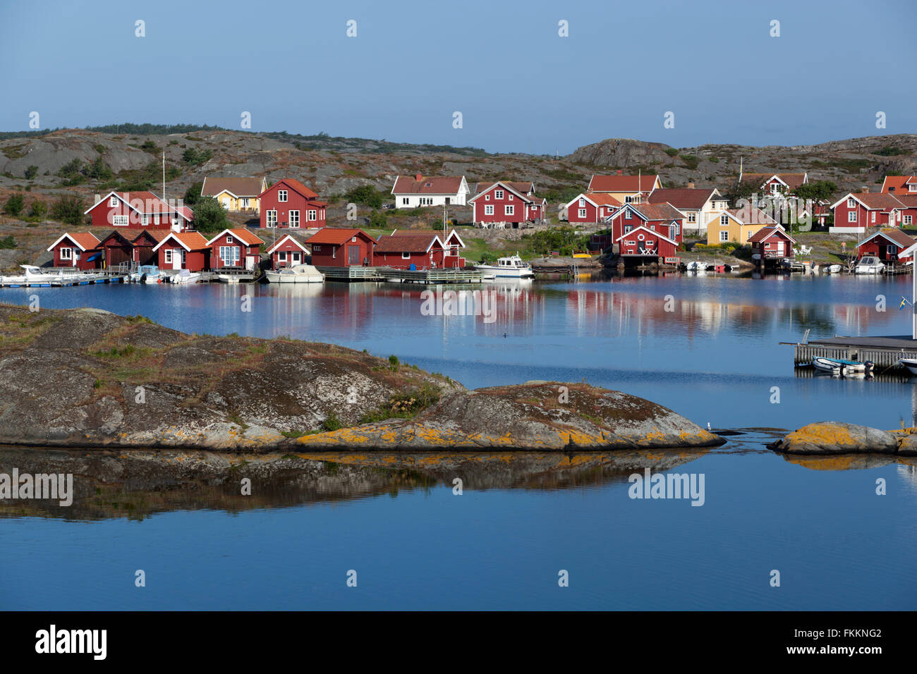 View to falu red fishermen's houses, Stocken, Orust, Bohuslän Coast, Southwest Sweden, Sweden, Scandinavia, Europe Stock Photo