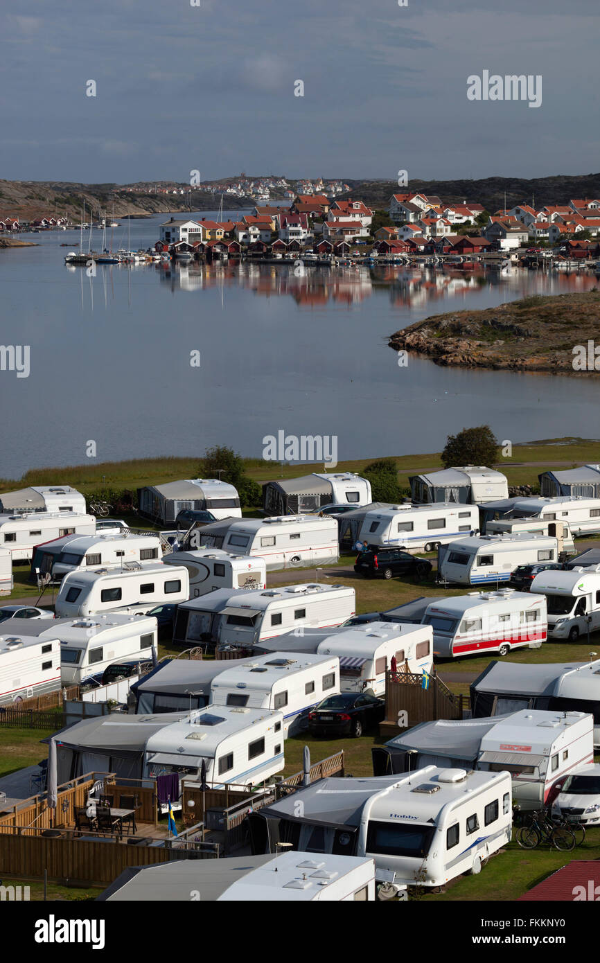 View over Stocken Camping campsite, Stocken, Orust, Bohuslän Coast, Southwest Sweden, Sweden, Scandinavia, - Stock Image