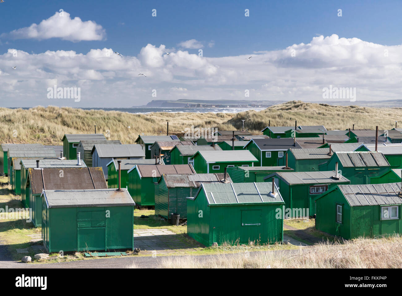 Fishermans Association Huts, South Gare, Redcar and Cleveland, February 2016 - Stock Image