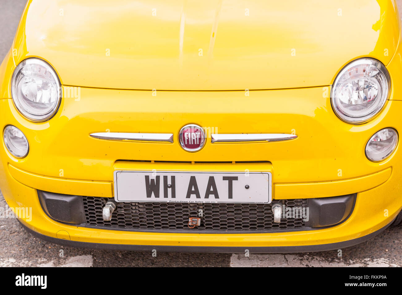 An amusing private personalised number plate in the Uk - Stock Image