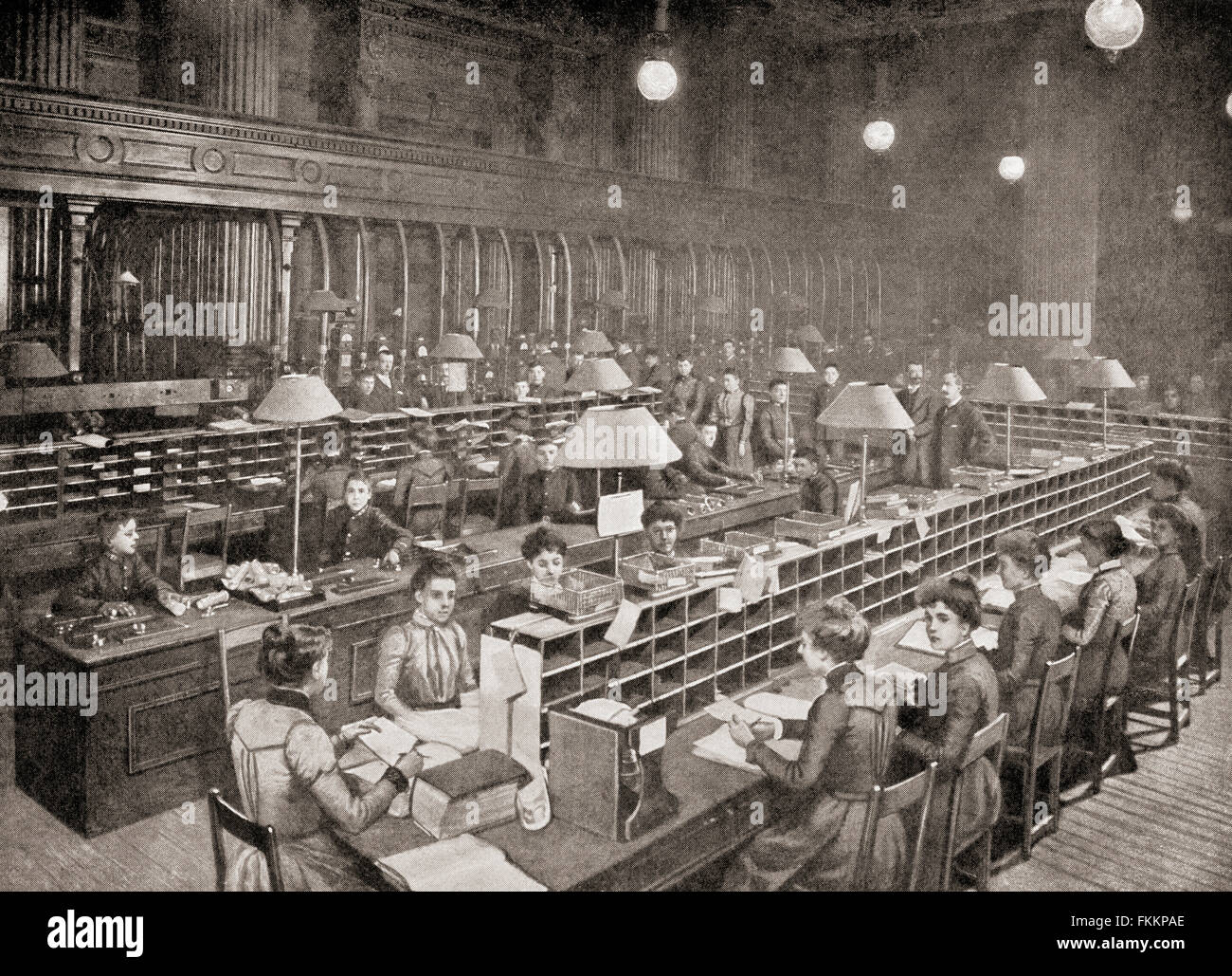The pneumatic tube room in the The Central Telegraph Office, St Martin's Le Grand, London, England in the late 19th - Stock Image