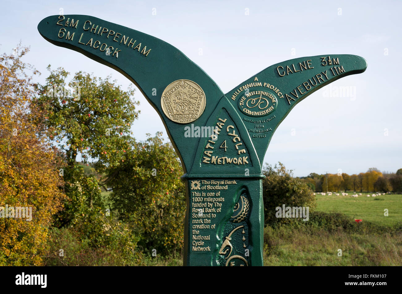 National Cycle Network signpost near Chippenham Wiltshire UK Stock Photo