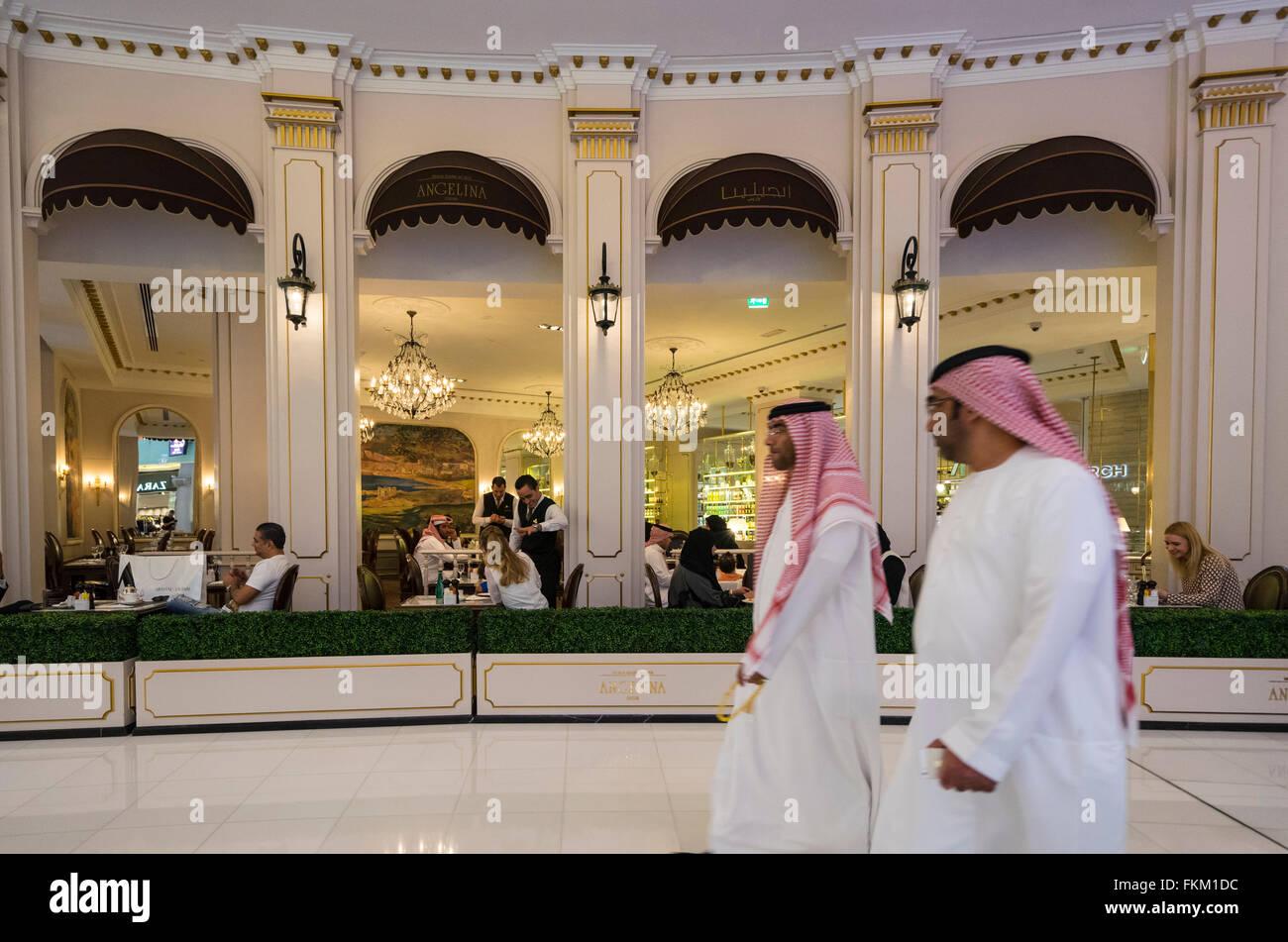 Upmarket Angelina Cafe in Dubai Mall United Arab Emirates - Stock Image
