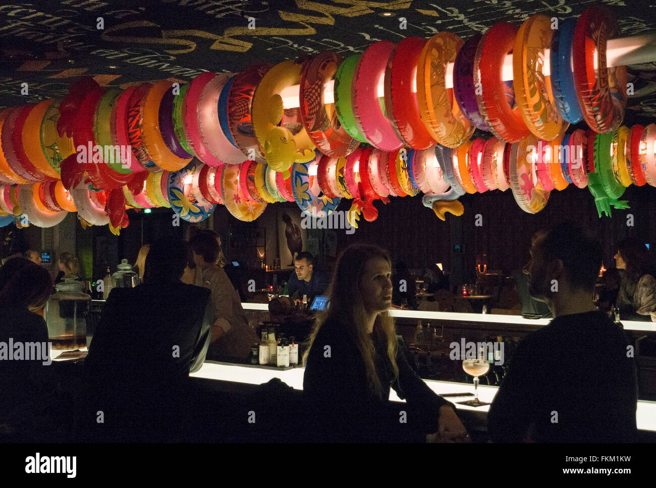 Bordeaux,France: the bar at Mama Shelter hotel - Stock Image