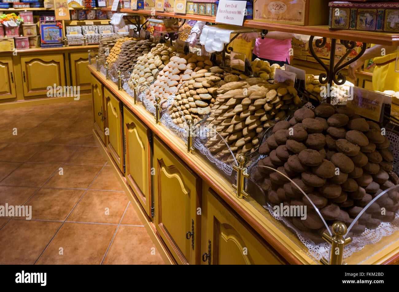 French cookies and various shortcrust pastry tarts displayed for sale in bakery in France  Model Release: No.  Property - Stock Image