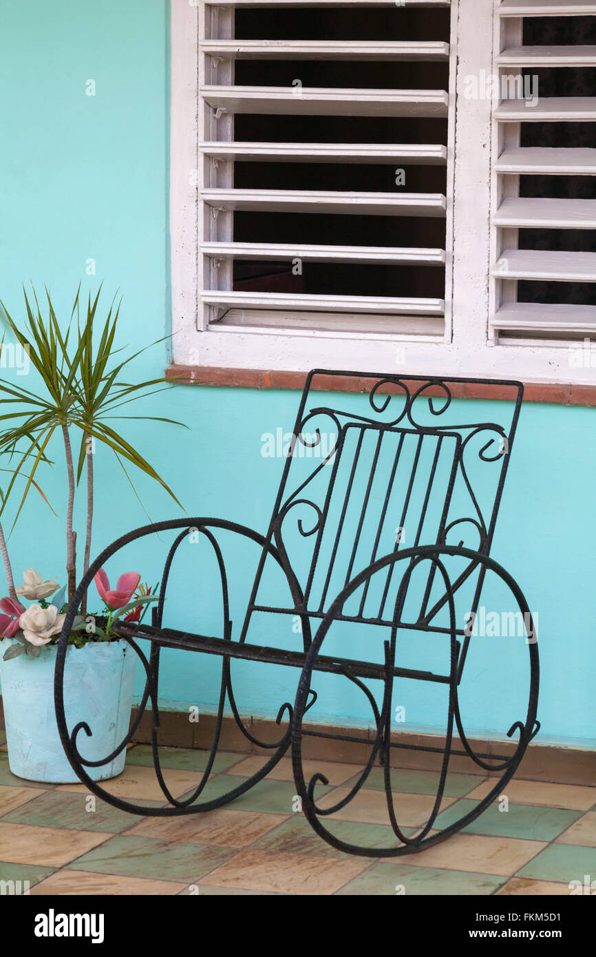 Wrought Iron Rocking Chair On Porch At Vinales, Pinar Del Rio Province, Cuba