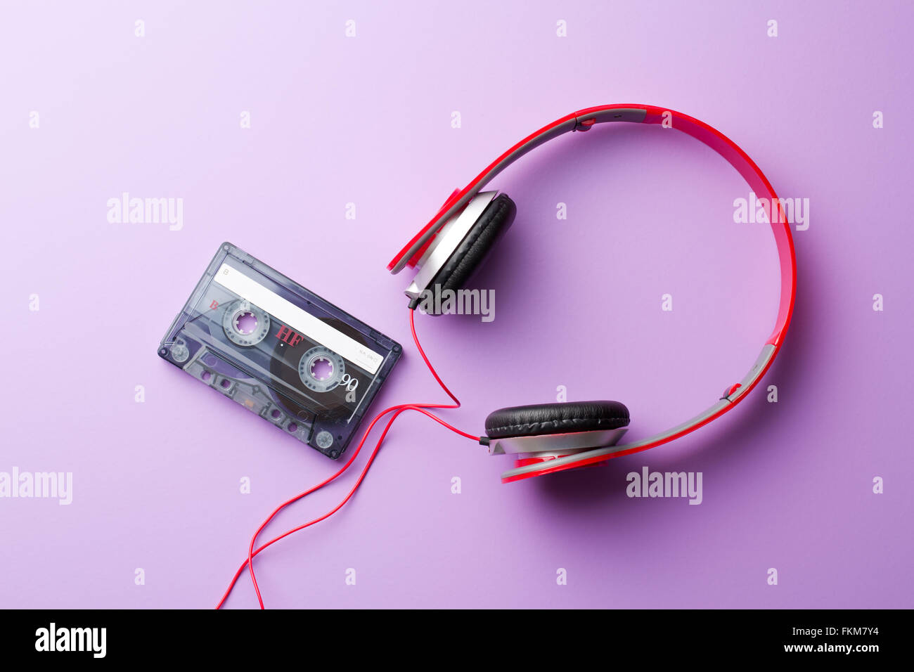 the cassette tape and headphones - Stock Image