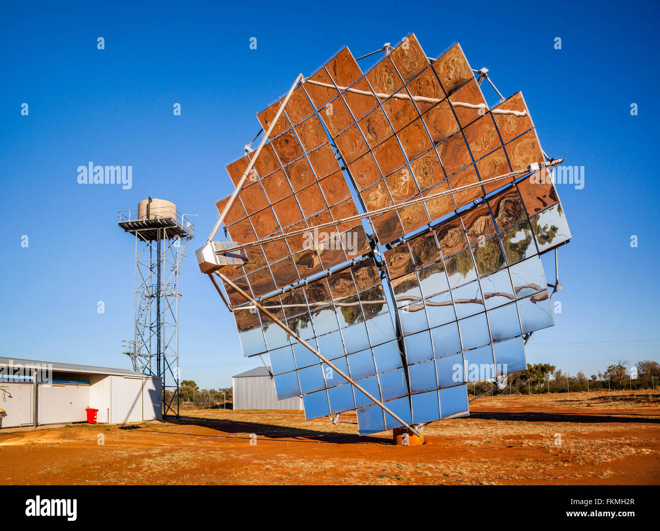 the solar dishes of Windorah Solar Farm, Channel Country, Central West Queensland, Australia - Stock Image
