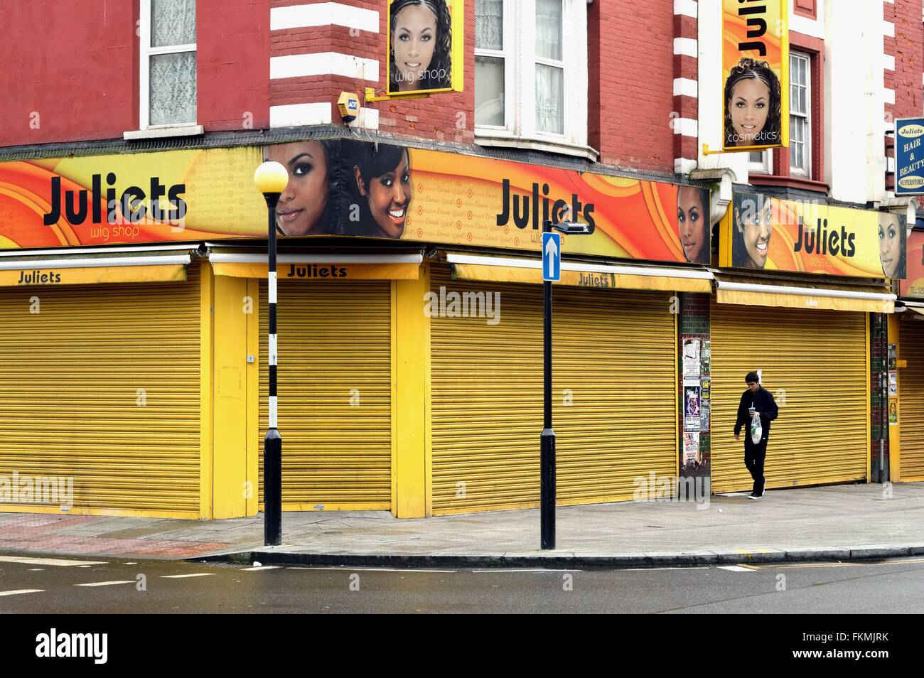 Closed shop on Harlesden high street London UK - Stock Image