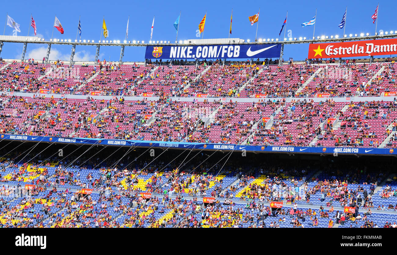 BARCELONA - MAY 03: People at the Camp Nou Stadium prior to the La Liga match between FC Barcelona and Getafe CF. - Stock Image