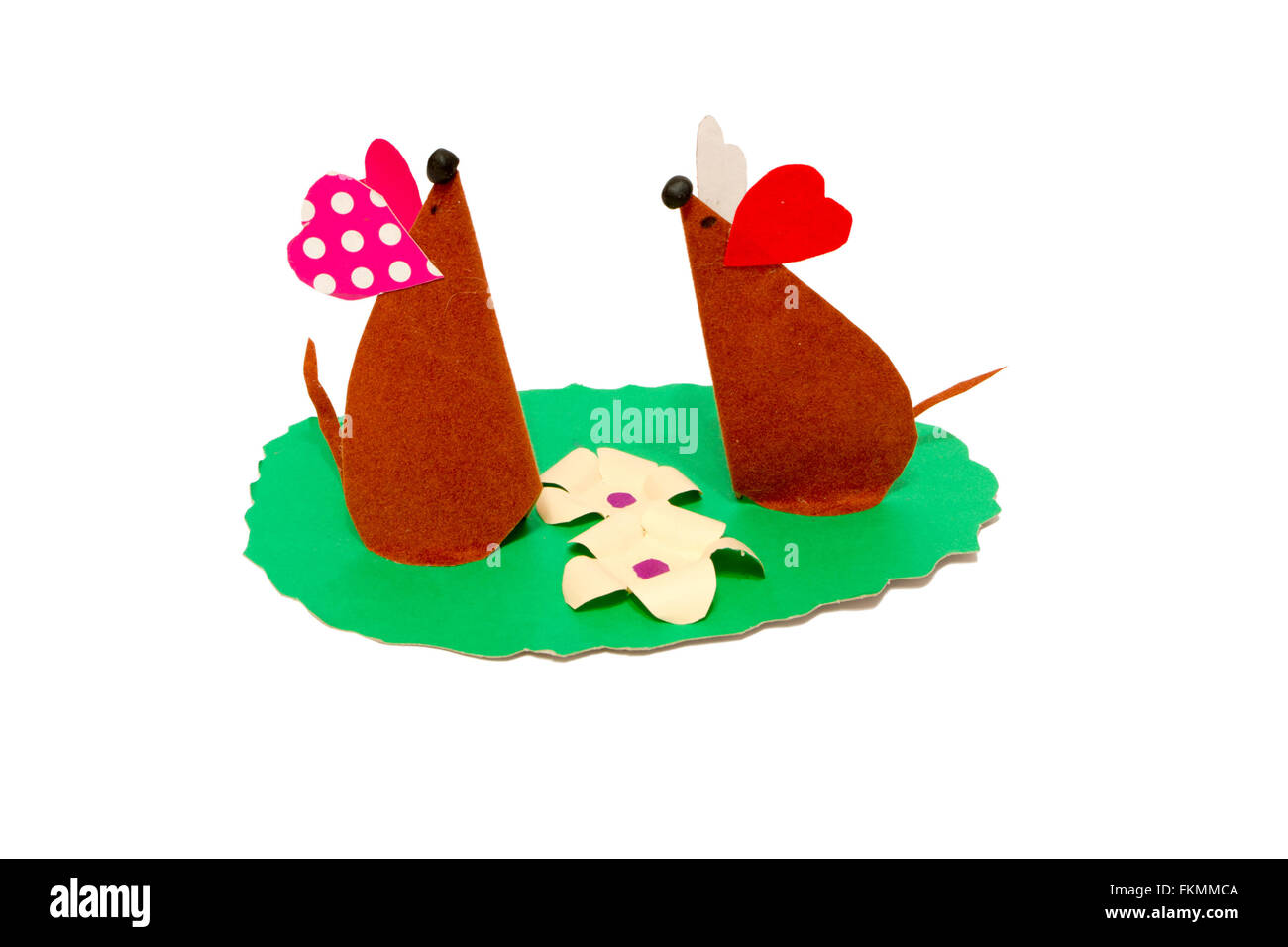 children's creativity from paper two mouse on the lawn - Stock Image