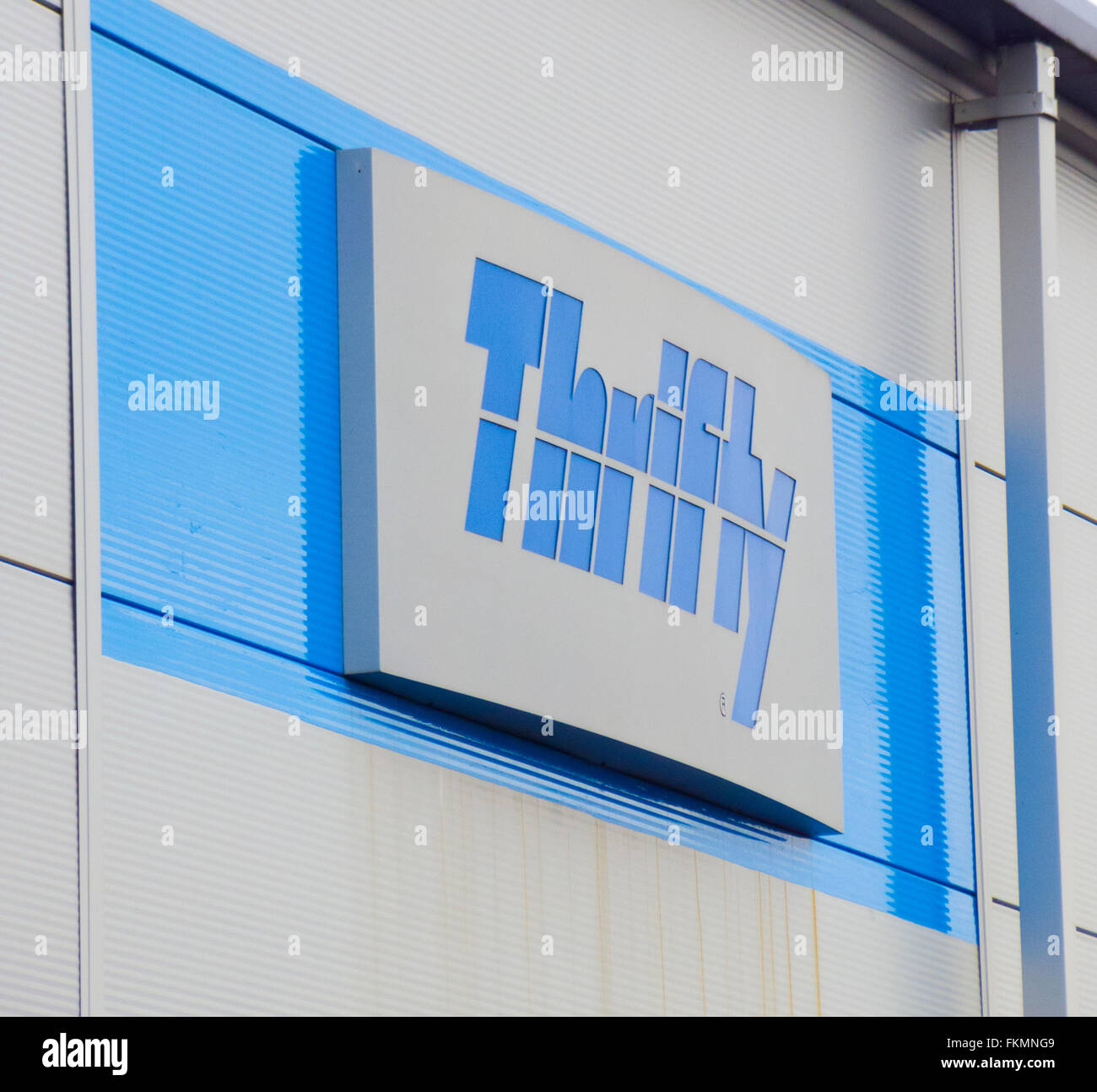 Thrifty Vehicle Rental Sign, UK - Stock Image