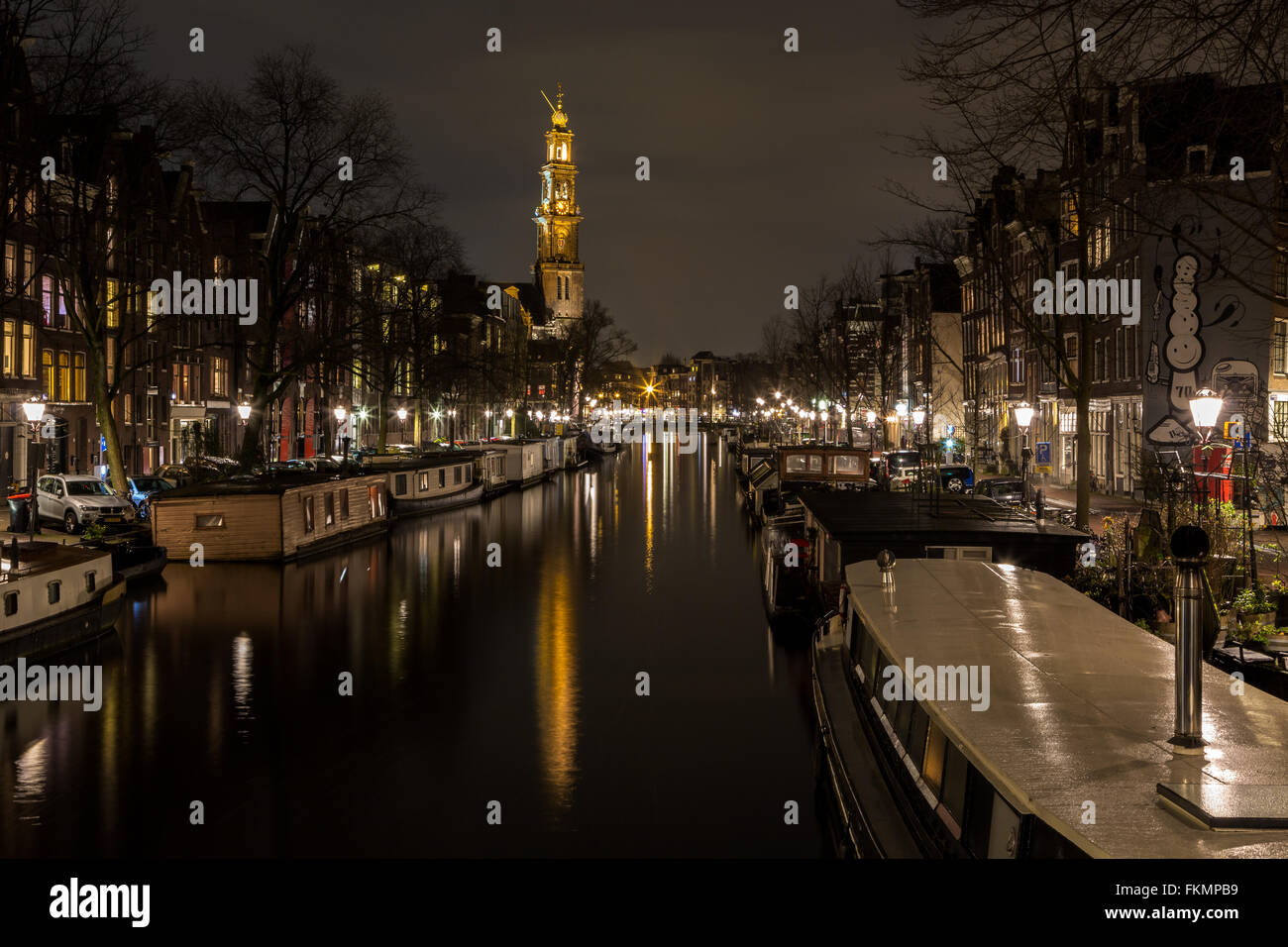 Houseboats on the Prinsengracht - Stock Image