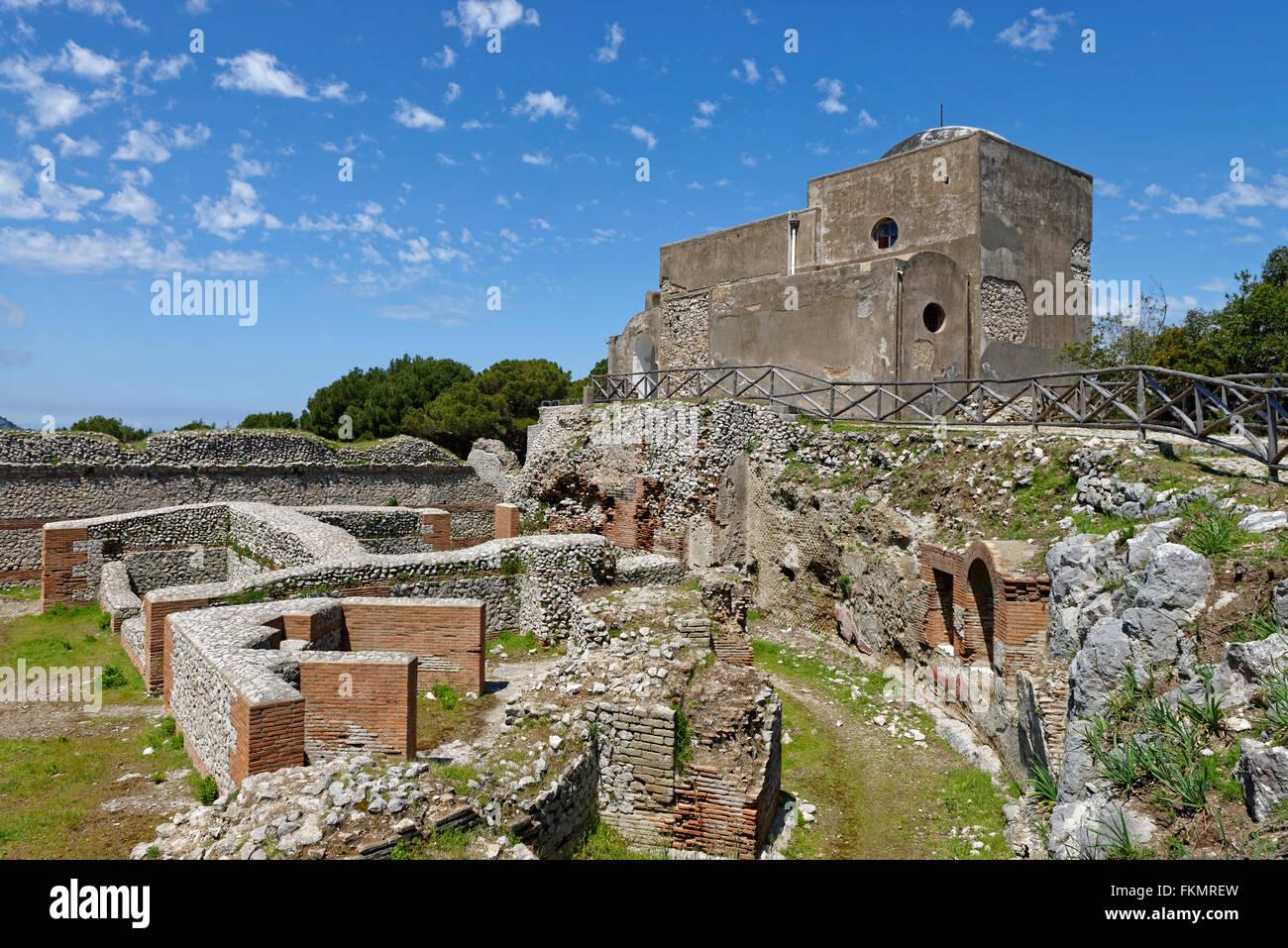 Ruins of the Roman Villa Jovis with Chiesa di Santa Maria del Soccorso church, Capri, Gulf of Naples, Campania, Stock Photo