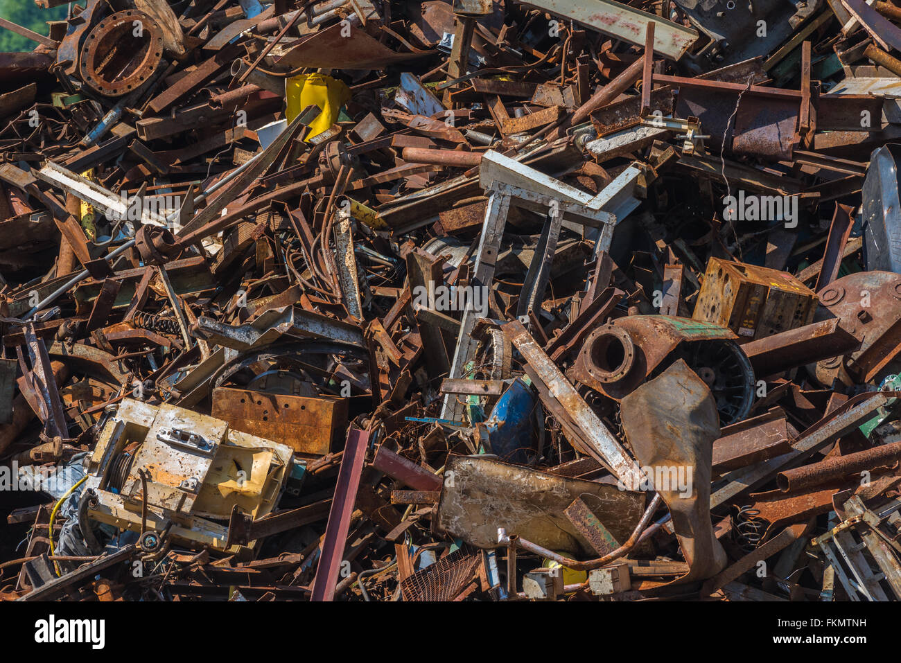 Scrap metal waste in a recycling yard Stock Photo