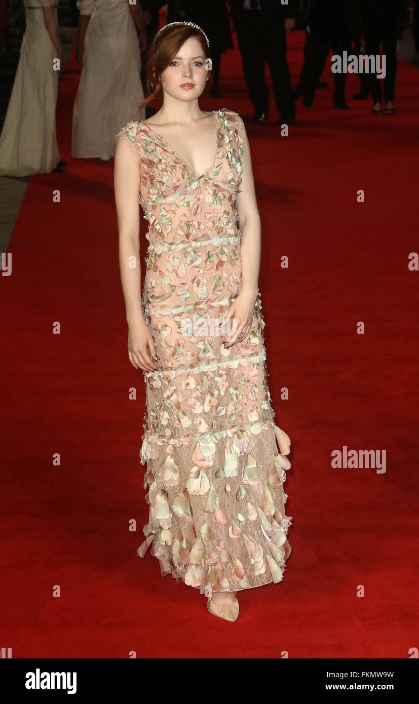 February 1, 2016 - Ellie Bamber attending the 'Pride And Prejudice And Zombies' European Film Premiere, - Stock Image