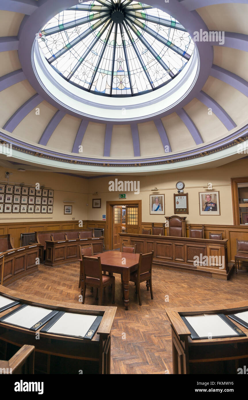 View within the council chamber of Spennymoor Town Council, Co. Durham, England, UK - Stock Image