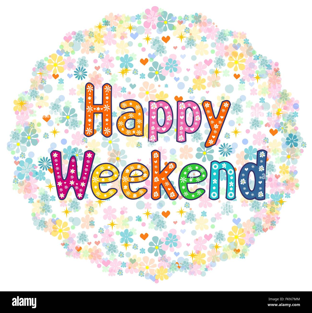 Happy Weekend decorative lettering text. - Stock Vector