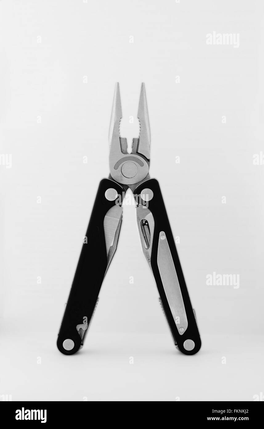 Pocket knife front view standing - Stock Image