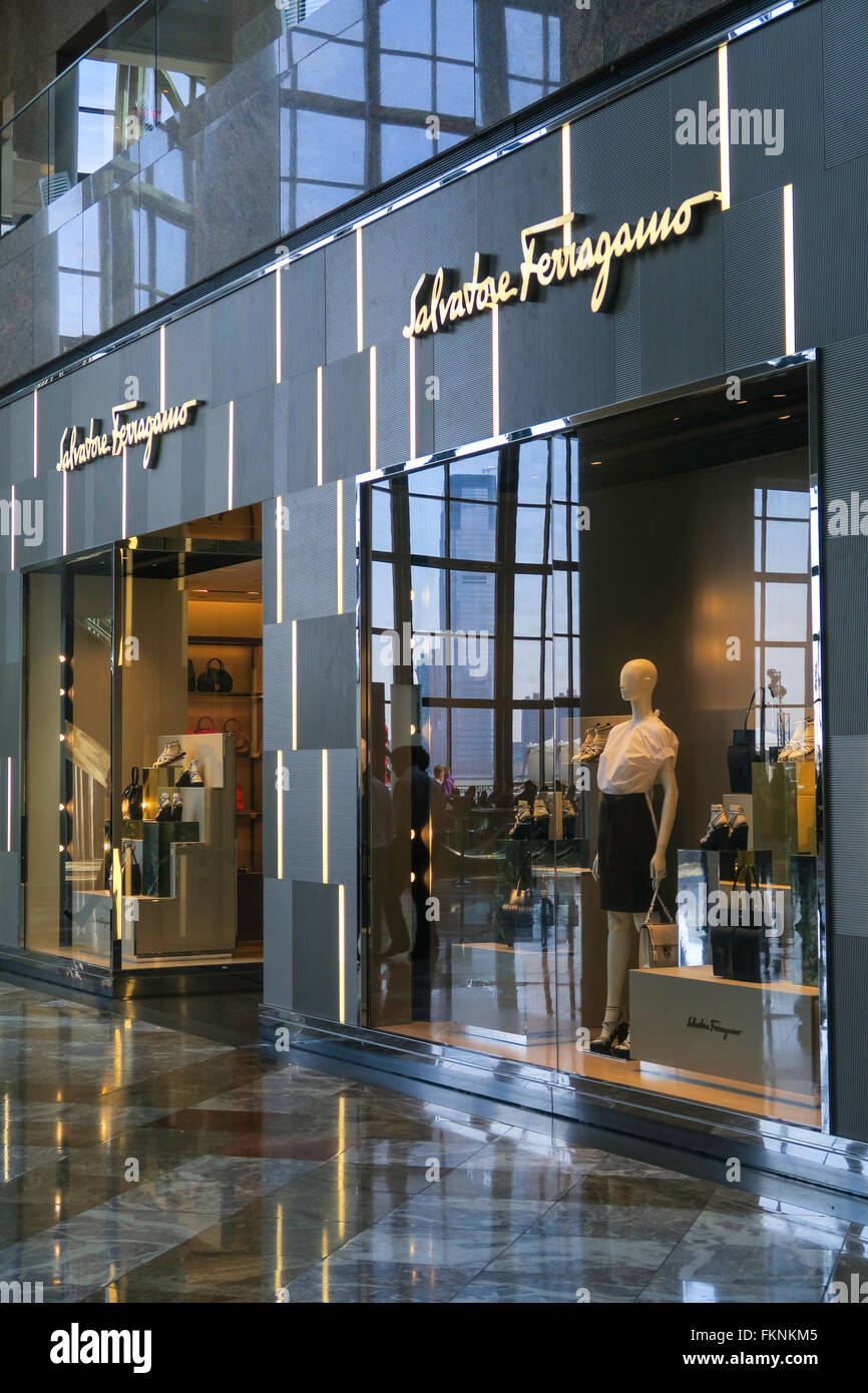 Salvatore Ferragamo Store, Brookfield Place in Battery Park City, NYC, USA - Stock Image