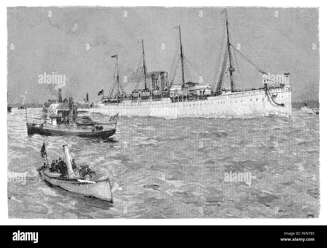 united states sleek best Black and white engraving of the North German Lloyd Line ...