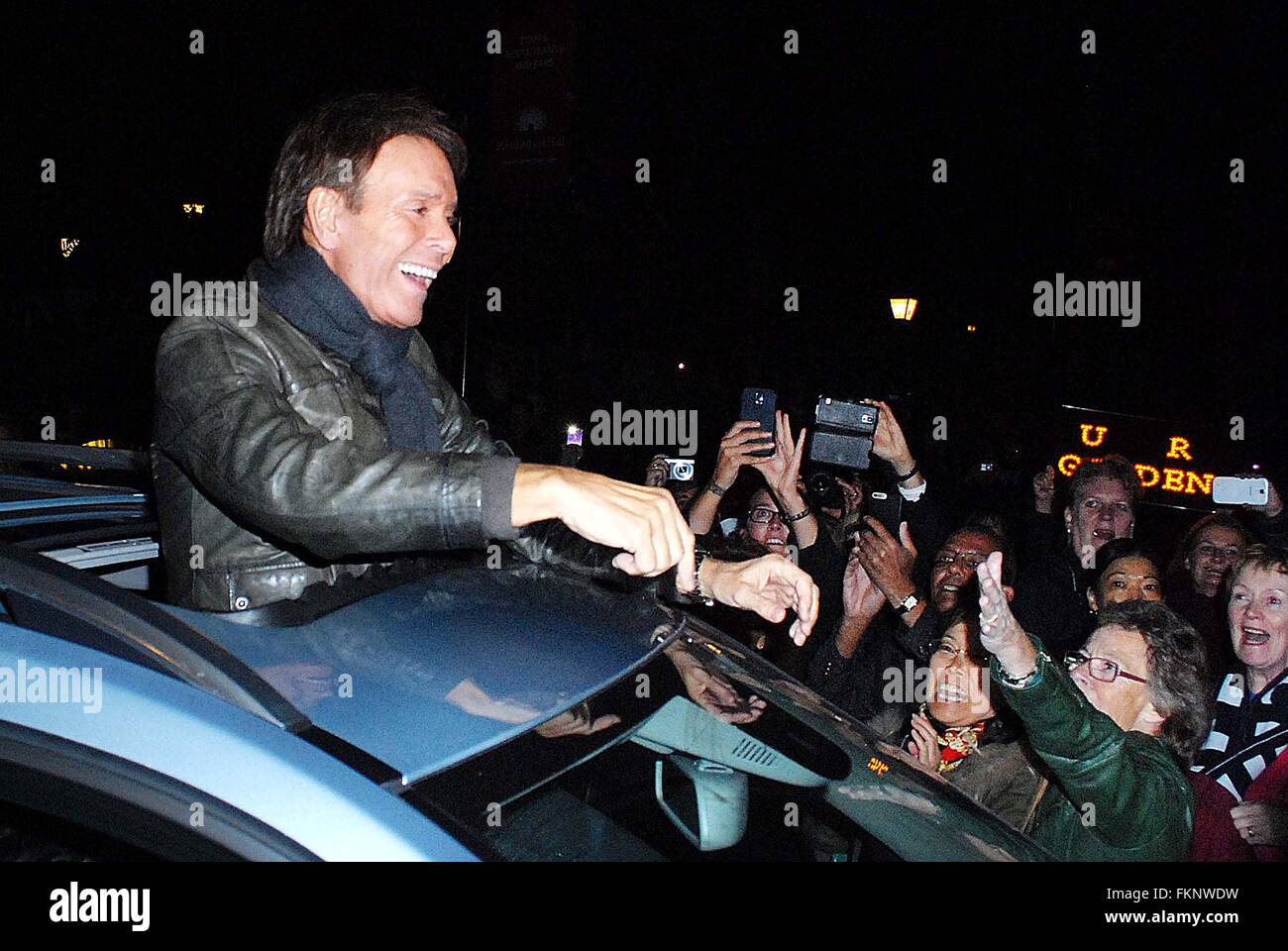 Cliff Richard returns to the Hall as part of his 75th Birthday Tour. Celebrating his 56th anniversary in the music Stock Photo