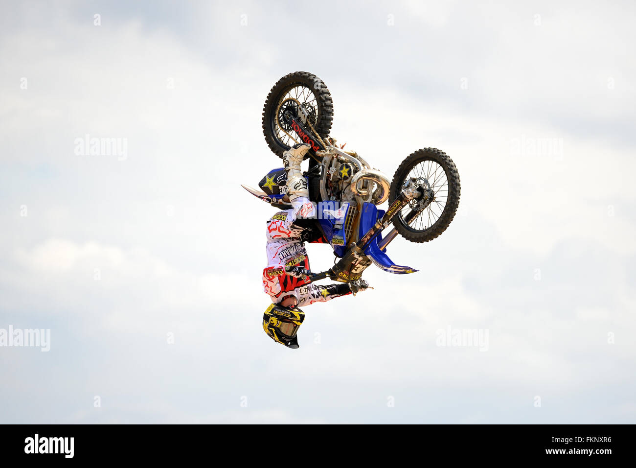 BARCELONA - JUN 28: A professional rider at the FMX (Freestyle Motocross) competition at LKXA Extreme Sports Barcelona. - Stock Image