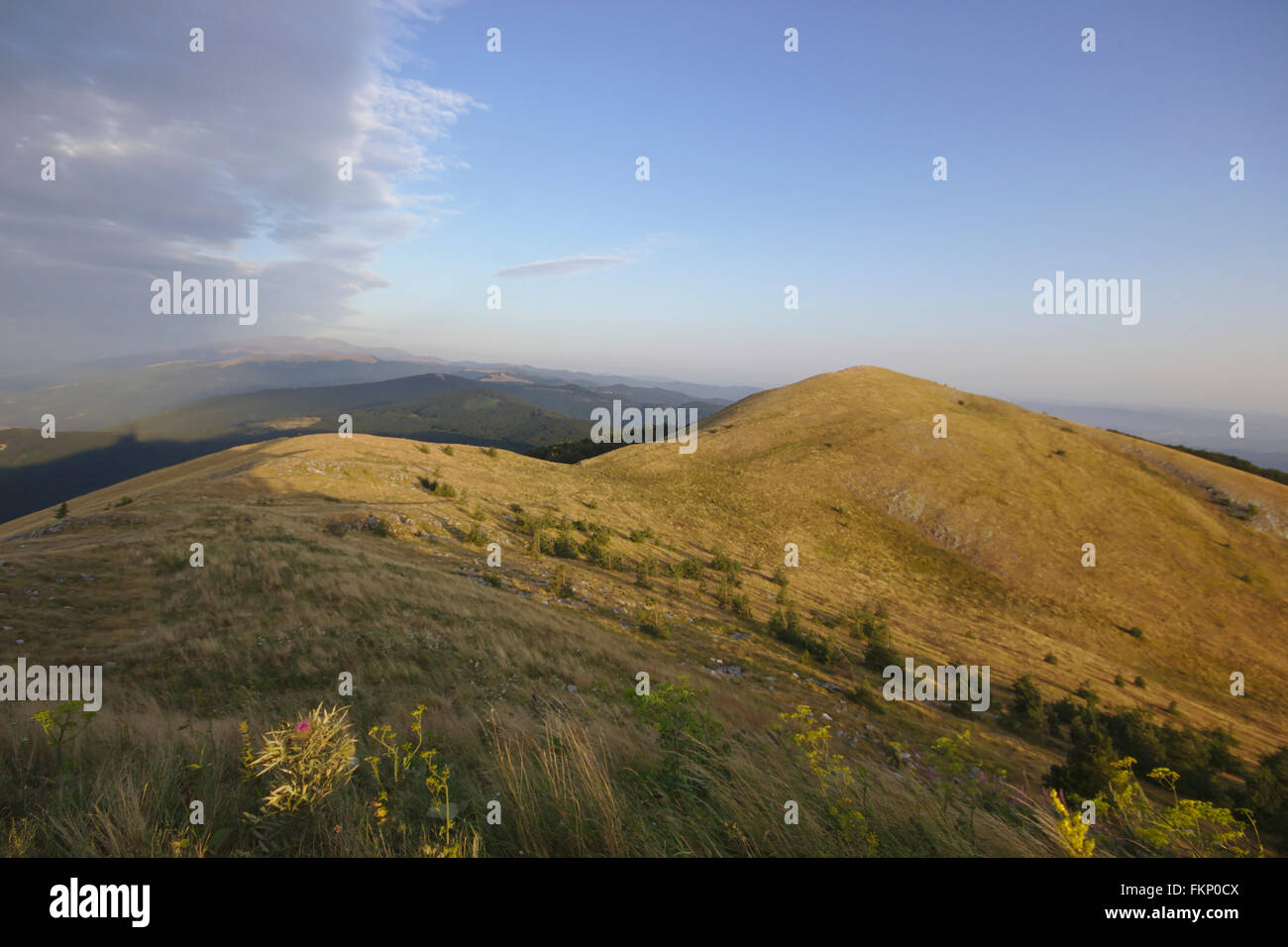View from Mount Buzludzha in morning light, Central Balkans, Bulgaria - Stock Image