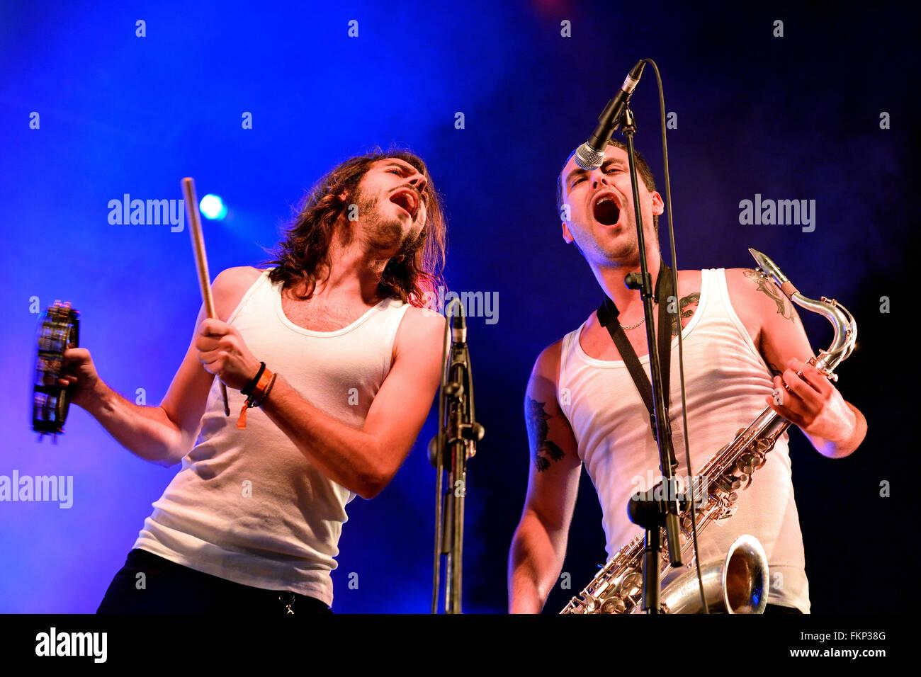 BILBAO, SPAIN - NOV 01: La Moda (band) live music show at Bime Festival on November 01, 2014 in Bilbao, Spain. - Stock Image