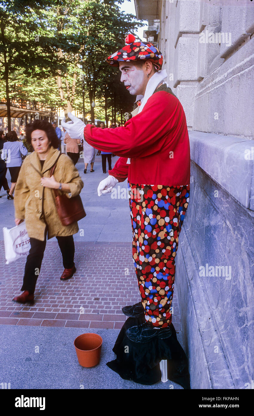 Street mime, in Granvia street. Bilbao. Vizcaya. Spain - Stock Image