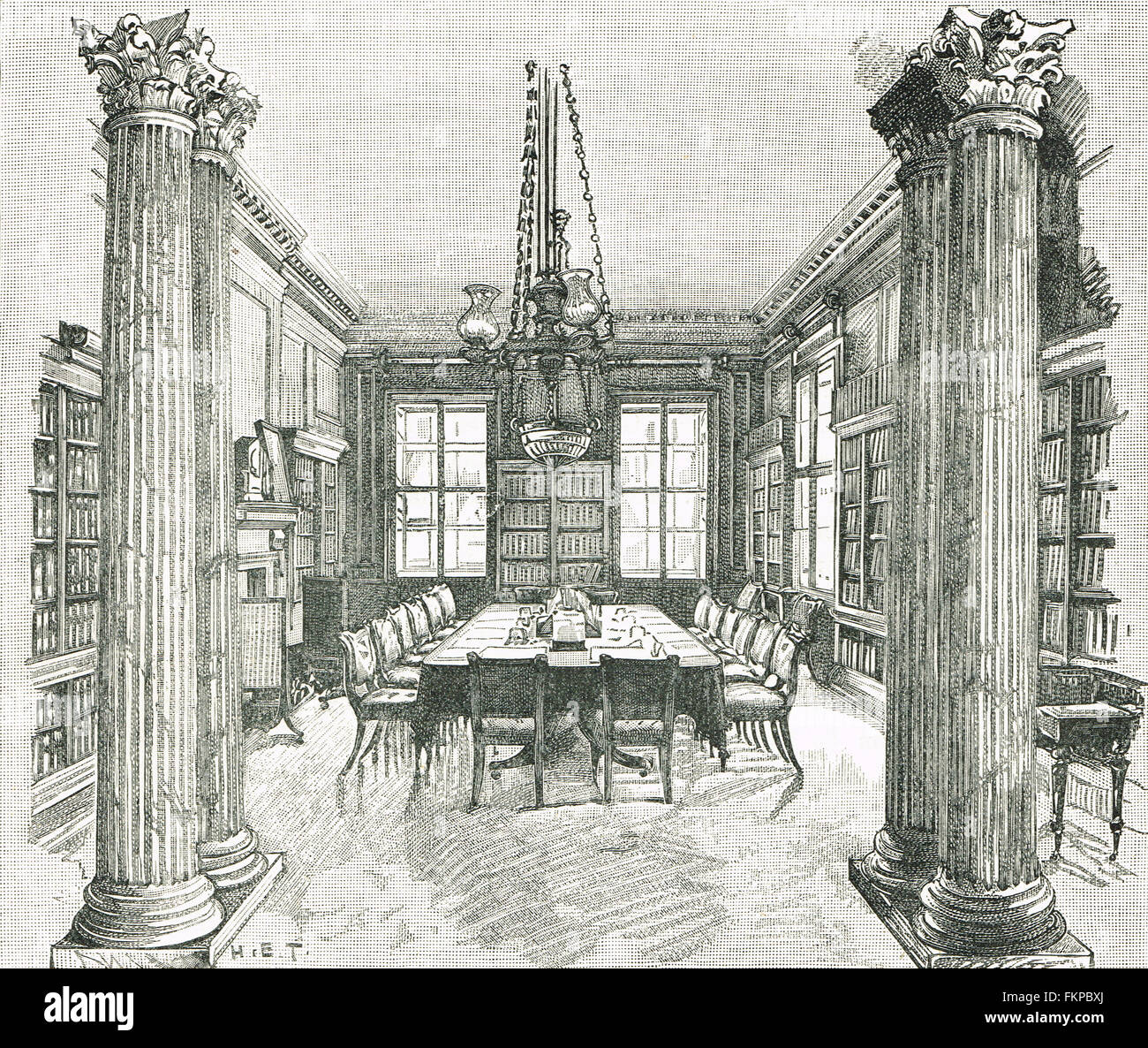 The Cabinet Room Downing Street in 1893 - Stock Image
