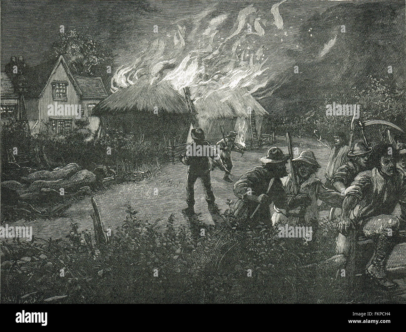 Swing Riots in Kent mob burning a farm 1830 - Stock Image