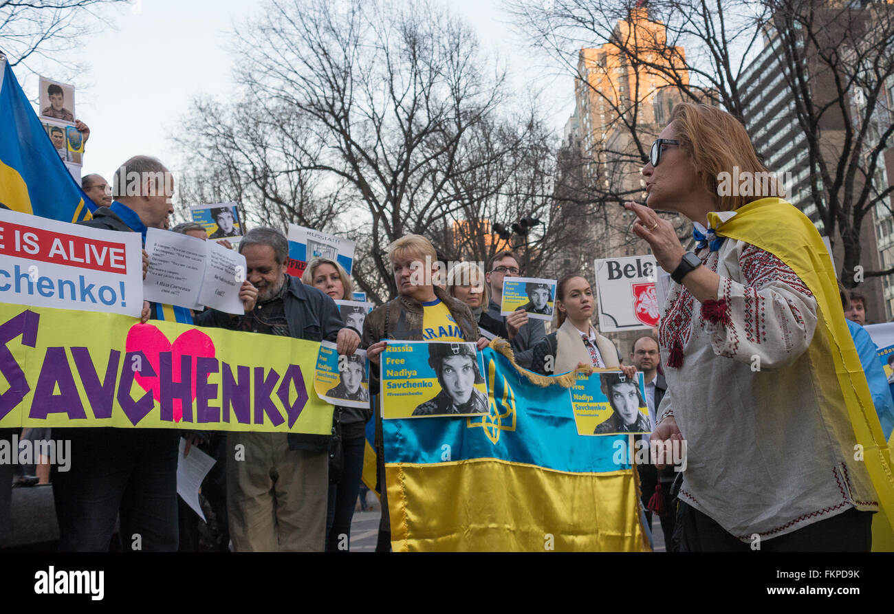 New York, United States. 09th Mar, 2016. Demonstrators hold signs and chant during the rally for Nadia Savchenko. Stock Photo